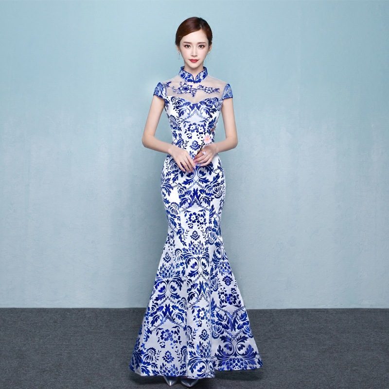 Blue White Porcelain Chinese Traditional Evening Gown Fashion Mermaid Long Modern Qipao Cheongsam Oriental Dresses Custom gown