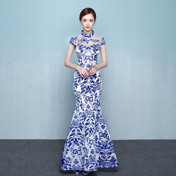 Blue White Porcelain Chinese Traditional Evening Gown Fashion Mermaid Long Modern Qipao Cheongsam Oriental Dresses Custom