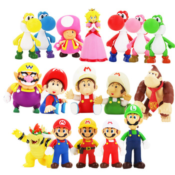 Super Mario Bros Figure super mario figurine mario bross PVC Action anime cartoon Figura Luigi Mario Yoshi Toys for Children 1