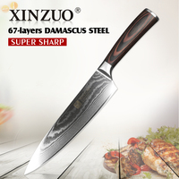 XINZUO 8 Inches Chef Knife Damascus Steel Kitchen Knives High Quality VG10 Santoku Hasher Knife Wood