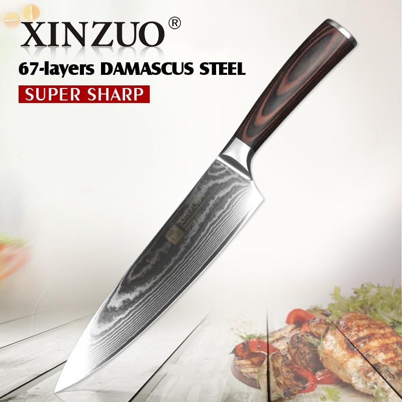 XINZUO 8 Couteau de Chef Professionnel 67 Couche En Acier Damas Couteau de Cuisine En Acier Inoxydable VG10 Japonais Acier Pakka Bois poignée