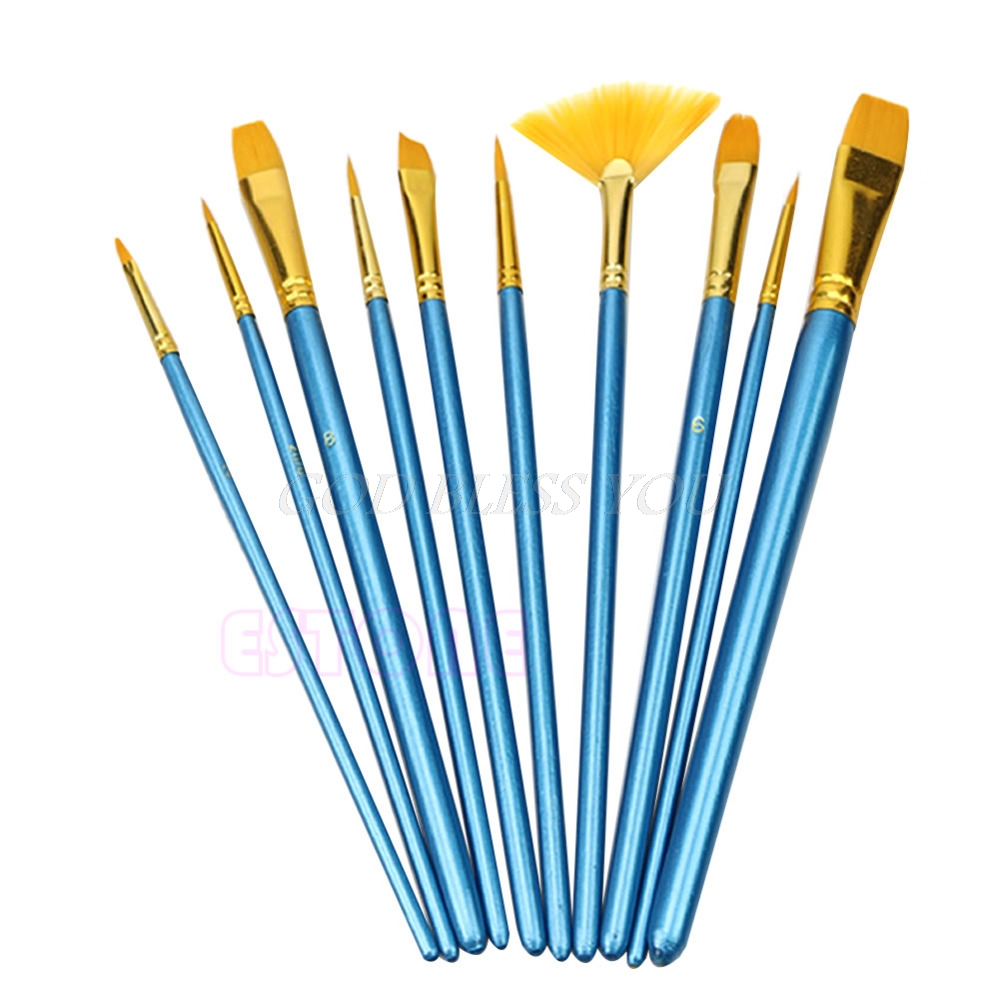 10Pc Acrylic Paint Brush Nylon Hair Watercolor Flabellum Pointed Tip Artists Set Drop Ship
