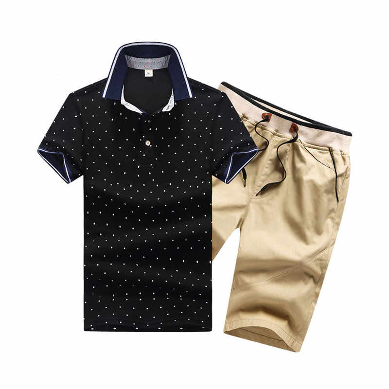 Хлопковые мужские комплекты s летние рубашки поло на пуговицах комплекты с отложным воротником мужские шорты 4XL мужская одежда комплект из 2 предметов спортивный костюм шорты с эластичной резинкой на талии