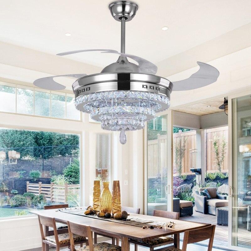 LED Crystal <font><b>chandelier</b></font> fan lights <font><b>chandelier</b></font> fan crystal lights living room minimalist restaurant modern fan with remote control