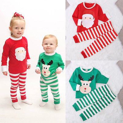fall winter new xma christma Kids children clothing Baby Girls Boys Santa Claus Deer Striped Pajamas Set Nightwear Sleepwear 2015 new arrive super league christmas outfit pajamas for boys kids children suit st 004