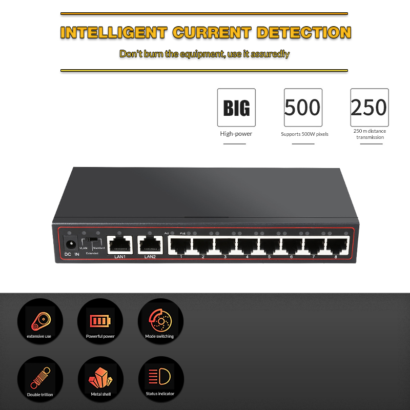 10 Port Poe Switch 48 V Power Over Ethernet Network Switch 802 3 AF to for