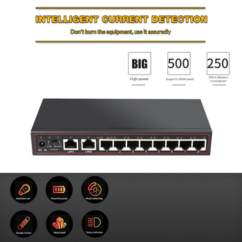 10-Port Poe Switch  48 V Power Over Ethernet Network Switch 802.3 AF / to for IP Camera / Wireless AP / CCTV Camera System 1