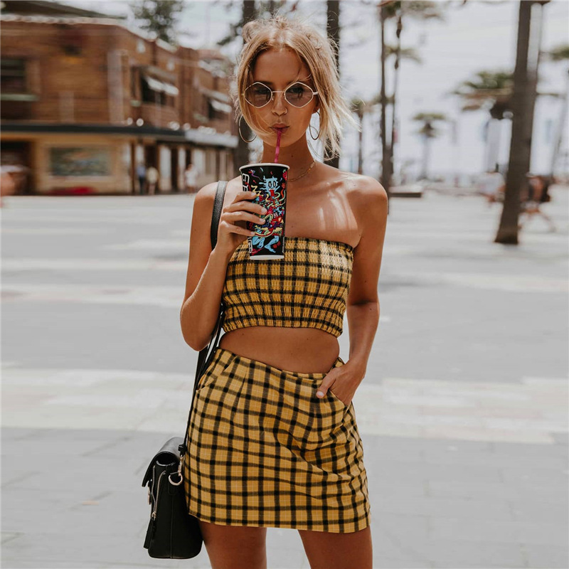 f1ce14bc7c5 SEXEMARA Yellow Plaid Sexy Two Piece Set Summer Outfits Women Short Set  2018 Smocked Strapless Crop Top and Skirt Set C67-AC44