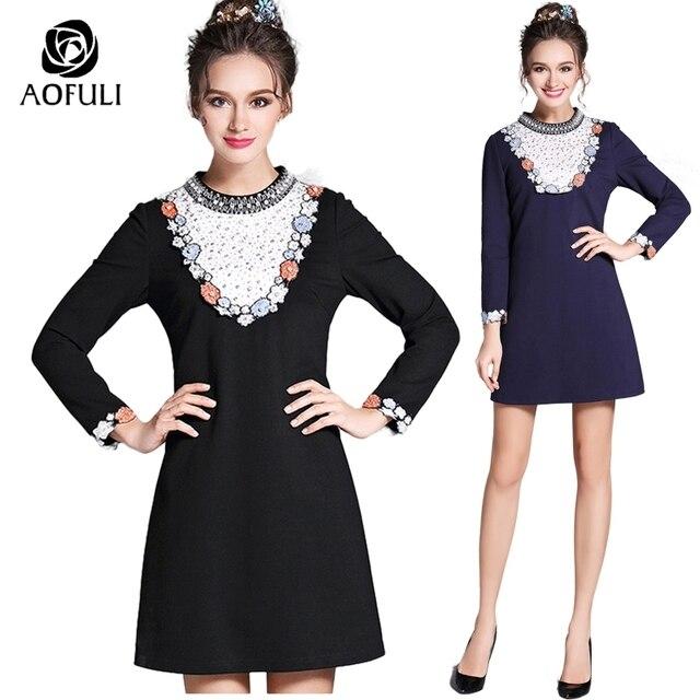 Aofuli S 4xl 5xl Ladies Diamond Pearl Beaded Dress Flower Embroidery