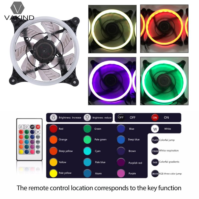 120*120*25mm DC 12V Computer PC Case Cooling Fan RGB LED Light Cooler Radiator Quiet Ventilador with IR Remote Controller delta 12038 12v cooling fan afb1212ehe afb1212he afb1212hhe afb1212le afb1212she afb1212vhe afb1212me