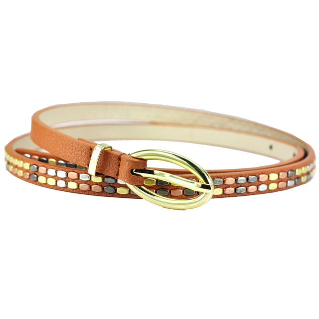 Women's rivet thin belt strap all-match female belt women's fashion candy color