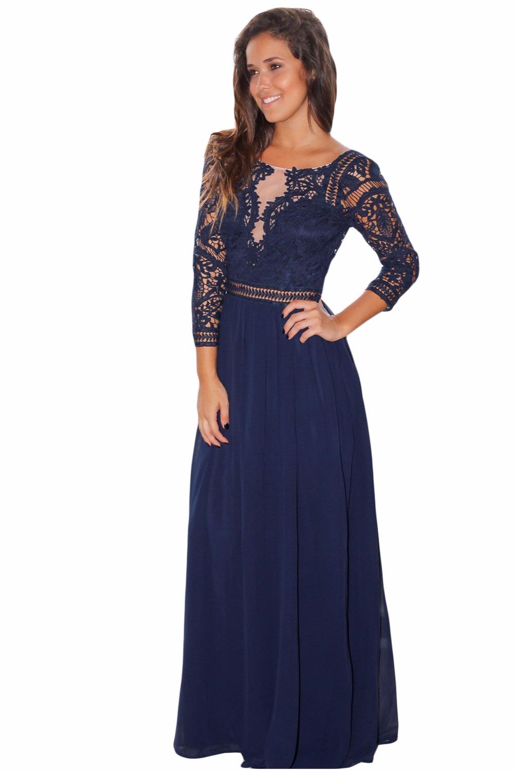 Dear Lover Elegant Long Dress Womens Autumn Navy Black Lace Crochet ... 926ce171f7