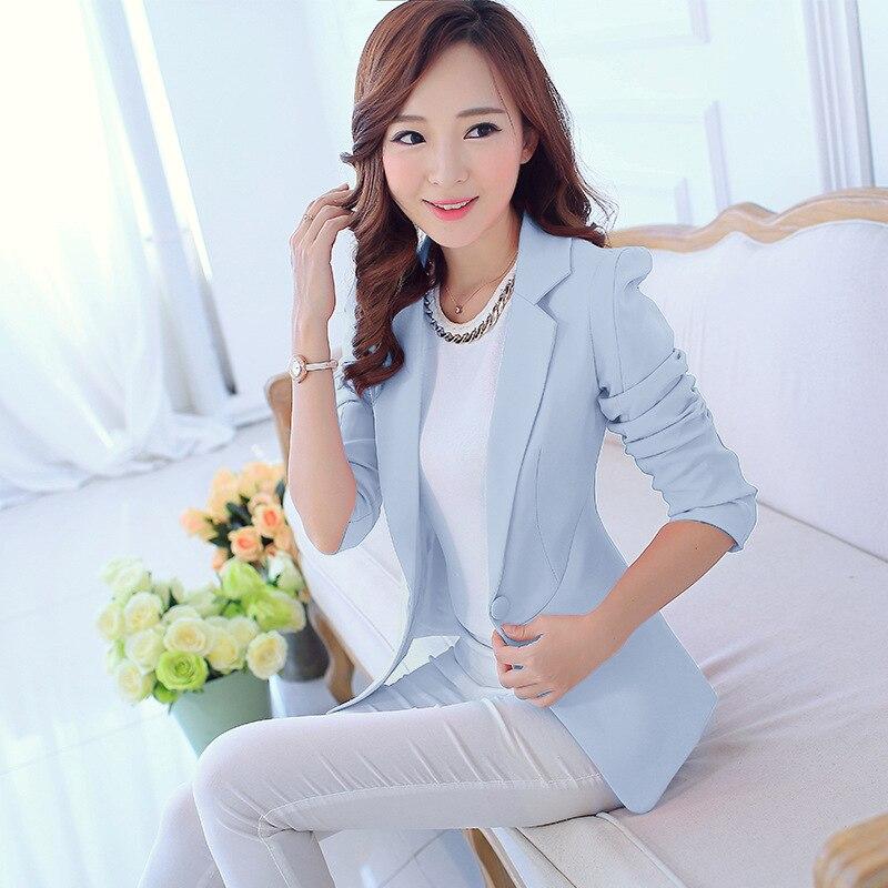 d4ed3167351 Spring Women Slim Blazer Coat 2016 New Fashion Casual Jacket Long Sleeve  One Button Suit Ladies Blazers Work Wear MZ645