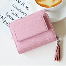 купить Womens PU Leather Purse Zipper Coin Pocket Wallet Card Holder Female Money Bag Two Fold Small carteira feminina 2019 Fashion дешево