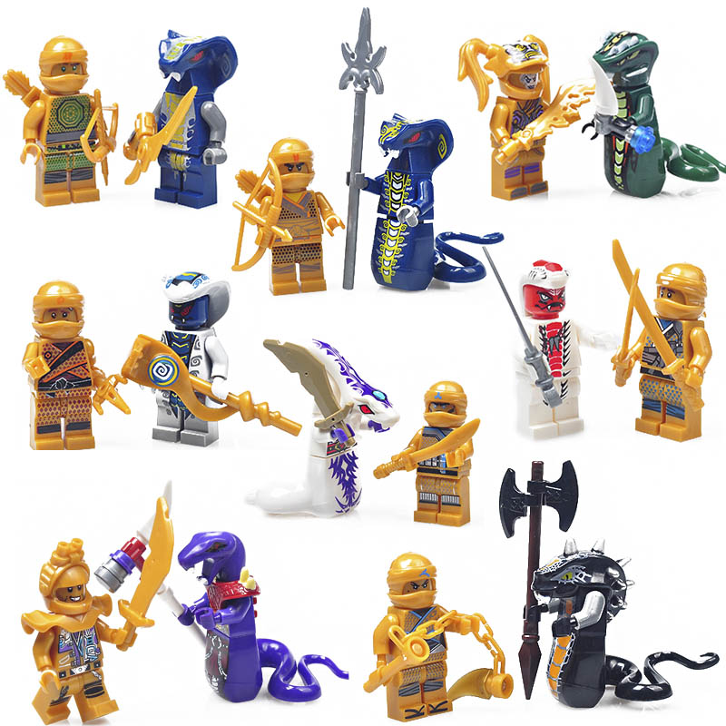 Action Figure Compatible LegoINGlys NinjagoINGlys Golden Ninja Heroes Minifigs With Motorcycle Skylor Lloyd ZX Buliding Blocks in Blocks from Toys Hobbies