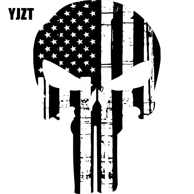 YJZT 9.7CM*15.2CM PUNISHER SKULL Black And White USA Flag Style Reflective Sticker Motorcycle Parts C1-7056