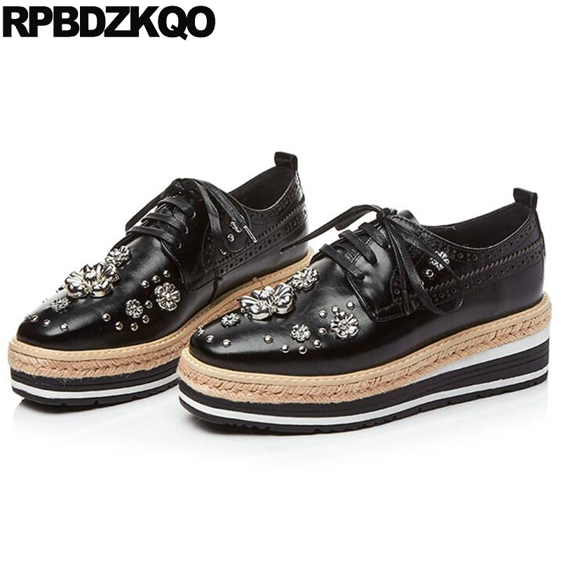 Black Straw Creepers Hemp Crystal Vintage Women Oxfords Shoes Stud Rivet Muffin Retro Flats Spring Autumn Latest European