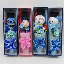 Handmade stitch cat doraemon plush toys Doctorial hat small bouquet home decoration creative graduation gifts