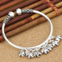 Real 100% 925 Sterling Silver Cuff Bracelets Bangles for Women Cute Elephant Charms Bracelet Thai Silver Jewelry Birthday Gifts