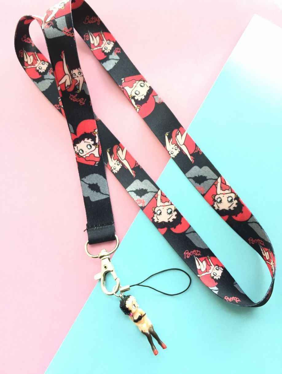 new 1 Pcs popular cartoon betty boop Neck Straps Lanyards Mobile Phone,ID Card,Key Condole belt Mixed