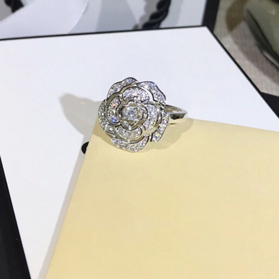 Fashion Brand 925 Sterling Silver Camellia Ring For Women Luxury Designer Jewelry Crystal Stone Ring Wedding Party Daily Bijoux