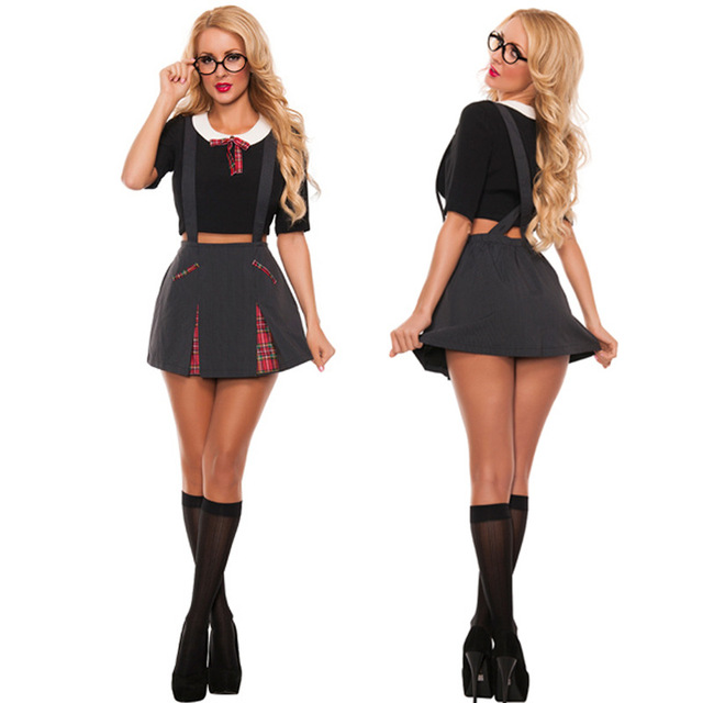 Sexy School Girls Costume Scotland Grid Suspender Skirt And Tops Halloween Role Play School Girl Overalls