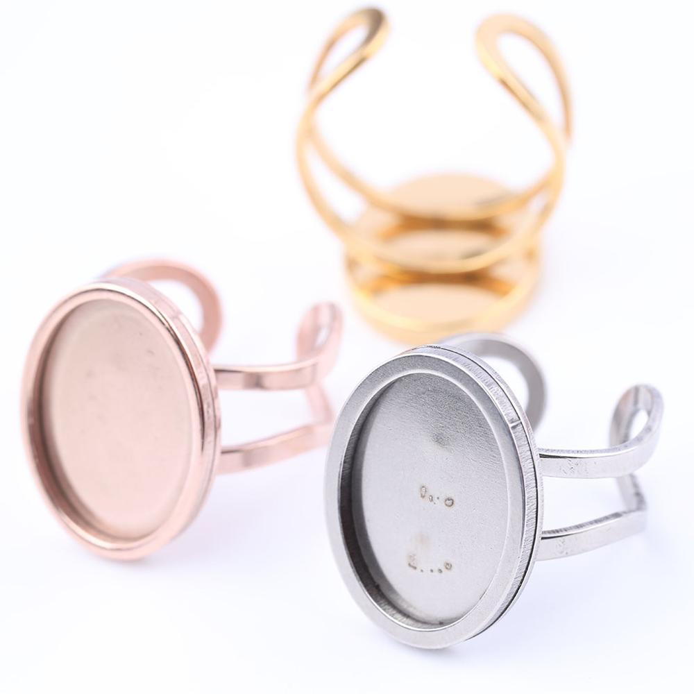 Onwear 10pcs 13x18mm oval cabochão cameo configuração da base de anel de aço inoxidável anel em branco bandejas moldura diy resultados da jóia