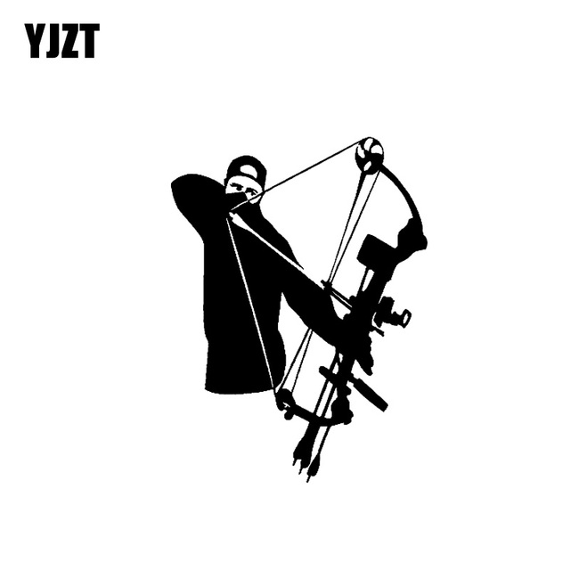 "YJZT 11.6 ס""מ * 15.6 ס""מ ויניל מדבקות Bowhunter ארצ 'ר קשת חץ ציד ציד מדבקה לרכב שחור כסף C10-02246"