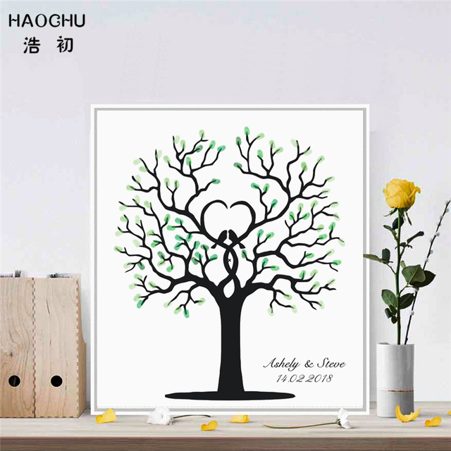 Us 5 58 39 Off Haochu Fingerprint Signature Canvas Guest Book Painting Multi Colored Wedding Tree Love Birds Check In Picture Home Wall Decor In