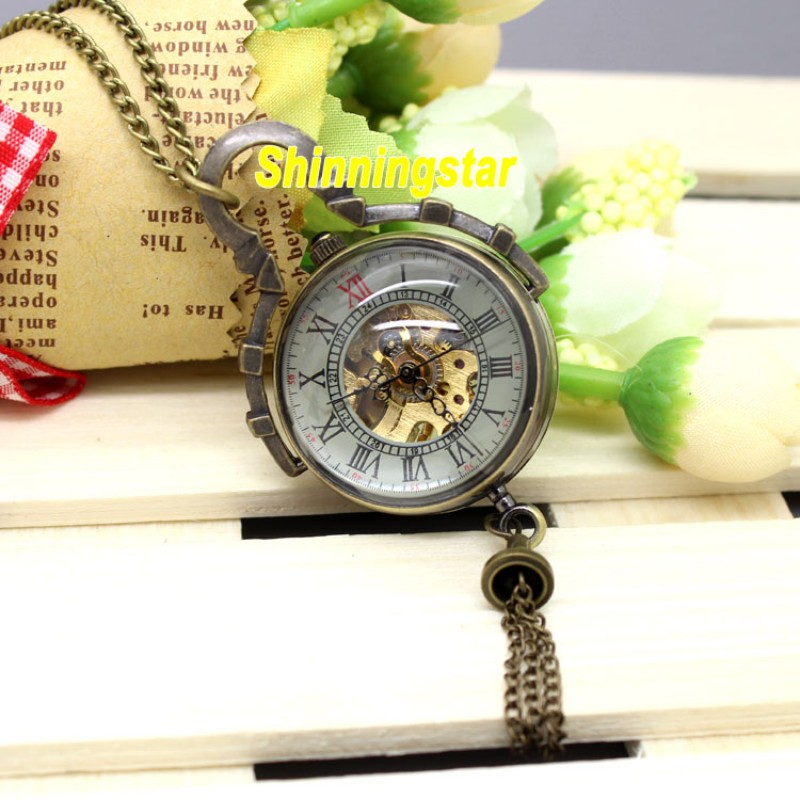 Steampunk Mechanical Pocket Watch Vintage Bronze Fob Pocket Clock Glass Ball Roman Numeral Mini Relogio De Bolso Mecanicas 2020