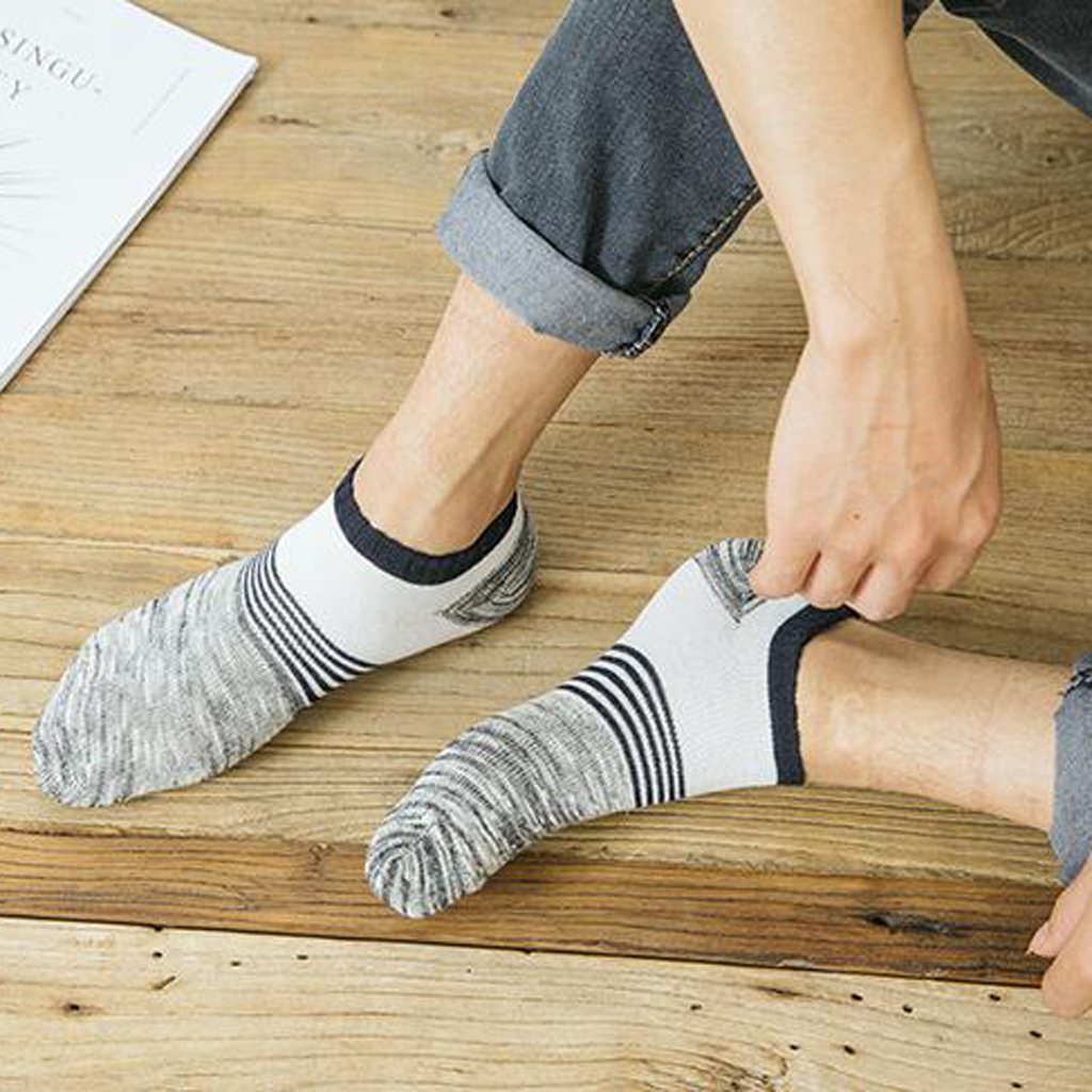 Multicolor Striped Low Cut Thin Cotton Breathable Socks for Men's Loafers or Sneakers 5 Pairs