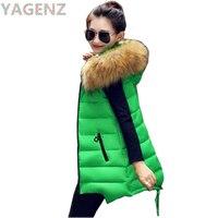 YAGENZ 2017 Winter Women Vest Hooded Waistcoat Cotton Jacket Warm Sleeveless Women Vest Plus size 4XL Fur collar Female Vest