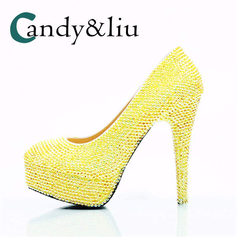 Dazzling Lemon Yellow Crystal Wedding Shoes Round Toe Super High Heels Women Pumps for Bride Nightclube