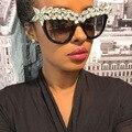 Decoração de cristal de grandes dimensões mulheres óculos de sol cat eye estilo rainha do vintage de luxo da marca do desenhador 2017 óculos de diamantes coloridos