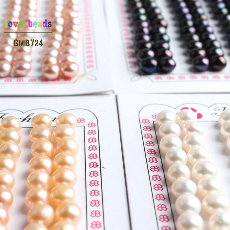Botón de perla de agua dulce, cuentas con orificio sueltas, color blanco, negro y rosa, 6-7mm, 28 Uds. (14 pares)