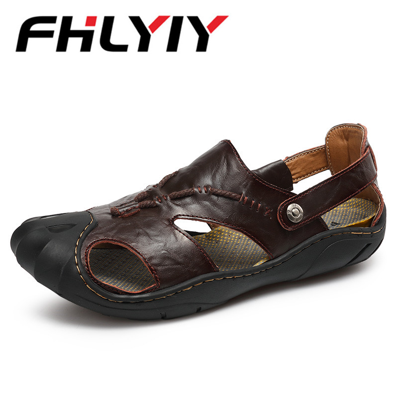 Big Size 46 Summer Men Leather Sandals Outdoor Spring Handmade Shoes For Male Breathable Casual Footwear Slip On Walking Sandals