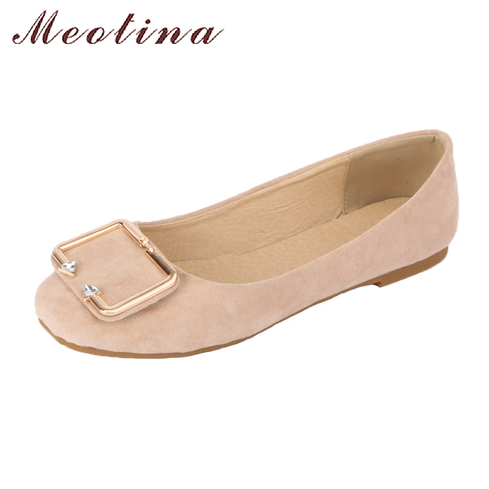 Meotina Shoes Women 2018 Ballet Flats Spring Buckle Crystal Casual Flat Shoes Square Toe Boat Shoes Size 34-43 Pink Yellow Beige 2017 womens spring shoes casual flock pointed toe narrow band string bead ballet flats flat shoes cover heel women flats shoes