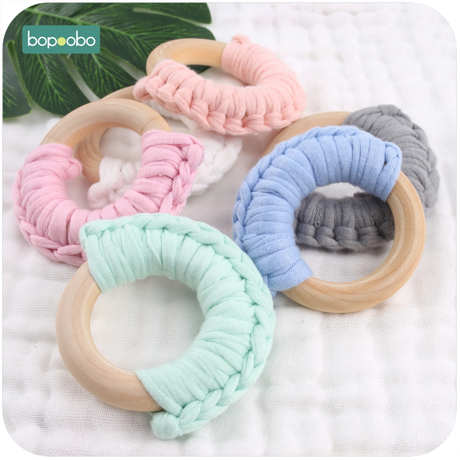 Bopoobo 20pc 56mm Cloth Half Rings Cotton Handmade Teethers DIY Baby Accessories BPA Free Waldorf Wood Ring Baby Teethers Toys