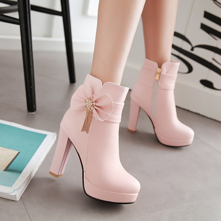 9_2016 Autumn Korean Womens Pink Dress Booties Shoes Princess Bow High Heels Black And White Platform Ankle Boots For Winter