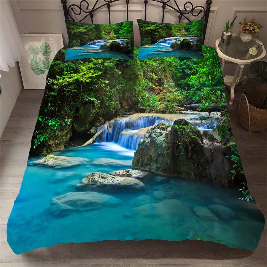 Bedding Set 3D Printed Duvet Cover Bed Set Forest waterfall Home Textiles for Adults Bedclothes with Pillowcase #SL02-in Bedding Sets from Home & Garden