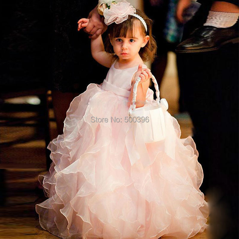 01916c7bc82f Cute Ball Gown Flower Girls Dresses for Party and Wedding 2016 Adorable  Pink Ruffles Organza Long Formal Gowns for Baby Girl