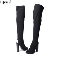 Womens High Heel Boots Fashion Over The Knee Boots Sexy Peep Toe Slingback Thigh High Boots