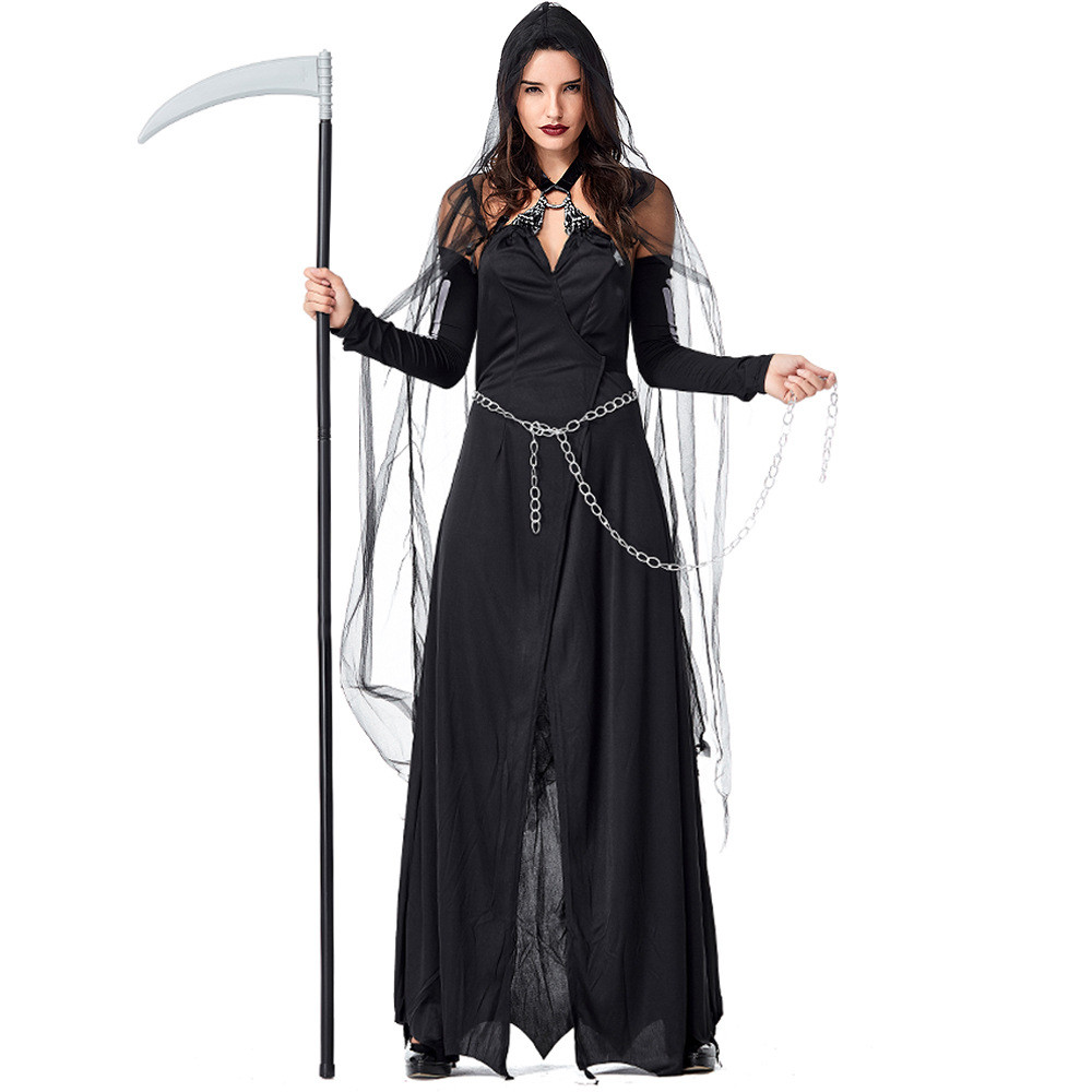 24d92c6a212 Adult Black Evil Witch Costume Female Cosplay Costume Halloween Wandering  Soul Gothic Witch Long Dress