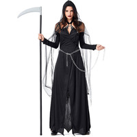 Adult Black Evil Witch Costume Female Cosplay Costume Halloween Wandering Soul Gothic Witch Long Dress