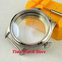 Ajuste ETA 6497 6498 movimento parnis 47mm screw-in coroa escovado caixa de relógio de aço stainles C06