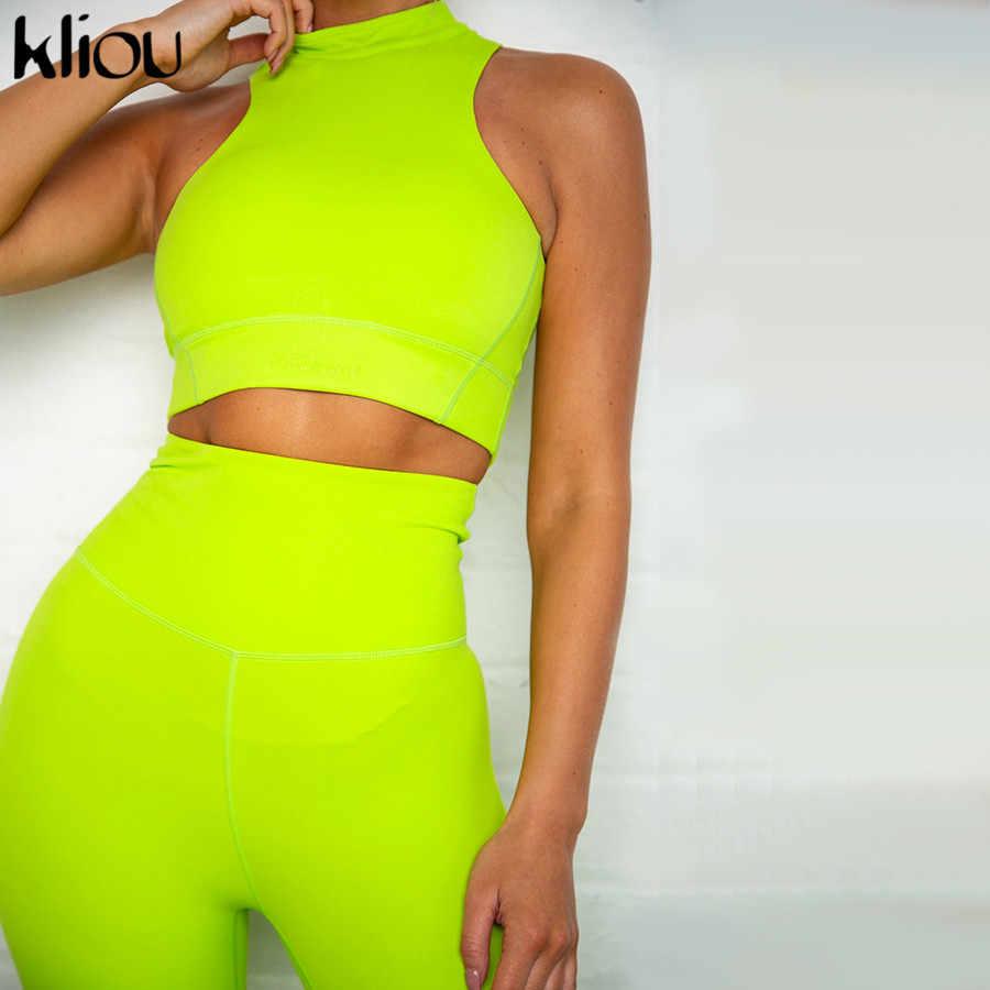 Kliou kobiety fitness dwa kawałki zestaw neon kolory odzież sportowa tank top biustonosz strój 2019 push up skinny legginsy z wysokim stanem dres