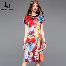 LD LINDA DELLA 2019 Fashion Runway Summer Dress Women's Short Sleeve Vintage Appliques Printed Holiday Slim Midi Elegant  Dress цена и фото