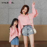 WLG family matching clothes mother daughter blouses spring autumn solid white pink ruffle long style shirts mom and me clothes