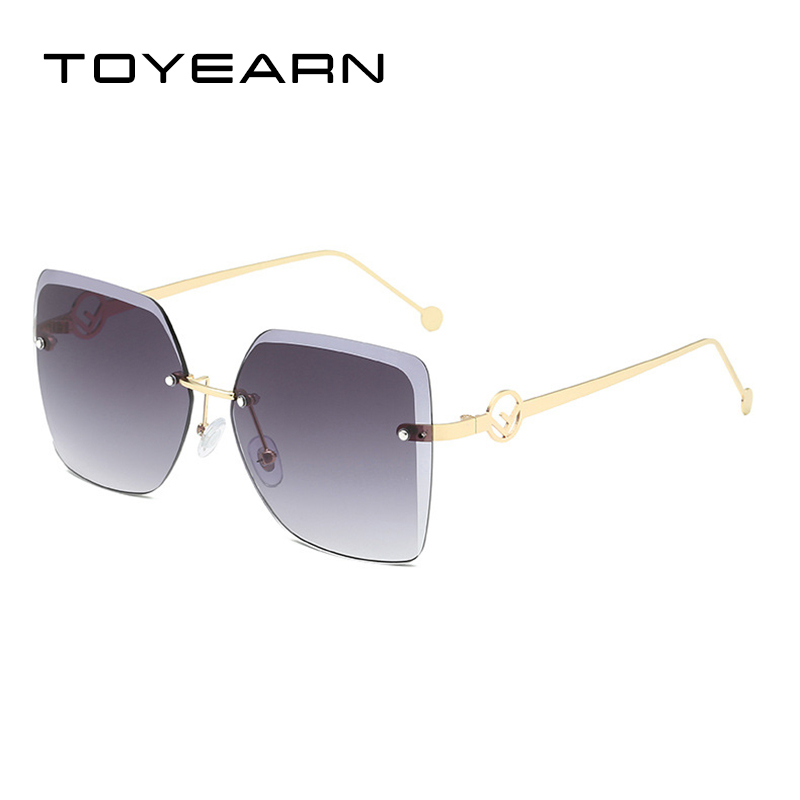 Luxury Fashion Lady Rimless Square Sunglasses Women Vintage Cutting Lens Gradient Oversized Summer Sun Glasses For Female UV400