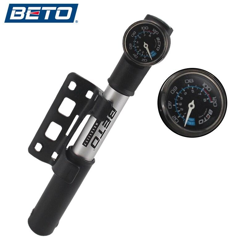 BETO Bicycle Pump Portable Mini Ultra-light Aluminum Alloy Pump Rotating Tube With Barometer MTB Road Bike Pump 100PSI for AV/FV